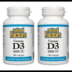 네추럴팩터스 비타민 D3 1000 IU 180소프트젤 2병묶음